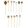 Estate Jewelry:Brooches - Pins, Multi-Stone, Gold Stick Pins. ... (Total: 12 Items)