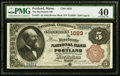 National Bank Notes:Maine, Portland, ME - $5 1882 Brown Back Fr. 467 The Merchants NB Ch. #1023. ...