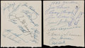 Autographs:Index Cards, 1951-52 New York Yankees Team Signed Sheets (39 Signatures).. ...