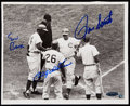 Autographs:Photos, 1964 Chicago Cubs Vintage Multi-Signed Home Run Photo, Banks,Santo, and Williams.. ...