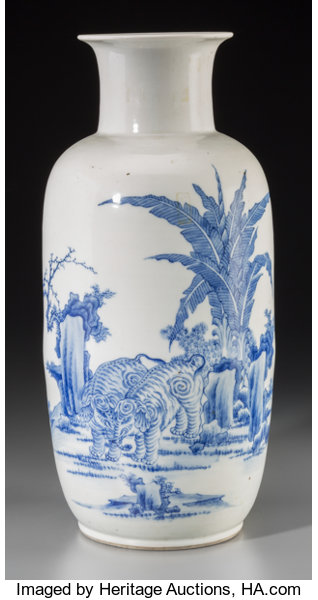 A Fine Chinese Blue and White Porcelain Elephants Vase with Prose