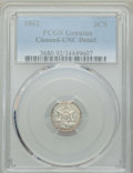 Three Cent Silver: , 1862 3CS -- Cleaning -- PCGS Genuine. UNC Details. NGC Census:(4/991). PCGS Population: (12/1075). MS60. Mintage 343,000. ...