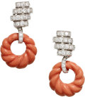 Estate Jewelry:Earrings, Coral, Diamond, White Gold Earrings, Carvin French. ...