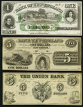 Obsoletes By State:Mixed States, East Haddam, CT- Bank of New England at Goodspeed's Landing $1; $5 18__ Remainders;. (Providence, RI)- Union Bank $5 185... (Total: 3 notes)