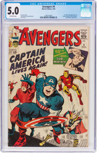 The Avengers #4 (Marvel, 1964) CGC VG/FN 5.0 Off-white pages