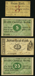 Obsoletes By State:New Hampshire, A Quartet of New Hampshire Civil War Scrip Notes from Concord(3) and Nashua 1862. ... (Total: 4 notes)