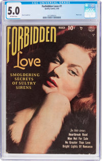 Forbidden Love #1 (Quality, 1950) CGC VG/FN 5.0 Off-white pages