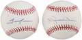 Autographs:Baseballs, All-Time Saves Leaders Single Signed Baseball Lot of 2, Rivera andHoffman. PSA/DNA Mint 9.. ...