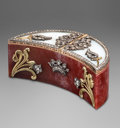 Decorative Arts, Continental:Other , A Fabergé-Style 14K Gold, Diamond, and Hardstone Crescent-ShapedCase, 20th century. Marks: (56). 1-1/8 h x 2-7/8 w x 1-1/2 ...
