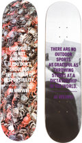 Prints & Multiples, Ai Weiwei (Chinese, b. 1957). Crabs and F*!?K (two works). Screenprint on skate deck, each. 31-3/4 x 8 inches (80.6 ... (Total: 2 Items)