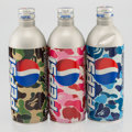 General Americana, BAPE X Pepsi. Set of Three Pepsi Bottles, c. 2002. Aluminumbottles in colors with carbonated beverage. 7-3/4 x 2-3/8 in...(Total: 3 Items)