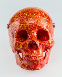 Seen UA (American, b. 1961) Skull (Red, Orange, and Yellow), n.d. Resin with handpainting 6-1/2 x