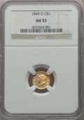 Gold Dollars, 1849-O G$1 Open Wreath AU55 NGC. NGC Census: (103/528). PCGS Population: (74/243). CDN: $470 Whsle. Bid for problem-free NG...