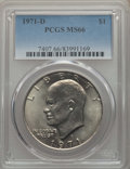 """Eisenhower Dollars, (4)1971-D $1 MS66 PCGS. The current Coin Dealer Newsletter (Greysheet) wholesale """"bid"""" price is $45.00.... (Total: 4 coins)"""