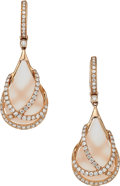 Estate Jewelry:Earrings, Diamond, Rose Quartz, Rose Gold Earrings . ...