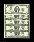Error Notes:Inverted Third Printings, Fr. 1935-E $2 1976 Federal Reserve Notes. Gem Crisp Uncirculated. Awonderful run of five consecutive notes, the two bookend... (5notes)