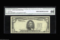 Error Notes:Third Printing on Reverse, Fr. 1978-F $5 1985 Federal Reserve Note. CGA Gem Uncirculated 66. Third printing on reverse on this CGA certified example....