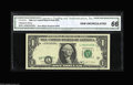 Error Notes:Shifted Third Printing, Fr. 1916-J $1 1988A Federal Reserve Note. CGA Gem Uncirculated 66. The Third printing on this Fort Worth note is shifted dow...