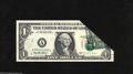 Error Notes:Foldovers, Fr. 1921-A $1 1995 Federal Reserve Note. Extremely Fine-AboutUncirculated. A dramatic foldover error which takes up most of...