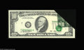 Error Notes:Foldovers, Fr. 2031-G $10 1993 Federal Reserve Note. Extremely Fine. A hugeand quite dramatic foldover, with the third printing applie...