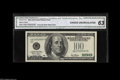 Error Notes:Obstruction Errors, Fr. 2177-B $100 Federal Reserve Note CGA Choice Uncirculated 63. There was an obstruction during the third printing resul...