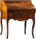 Furniture : Continental, A Dutch Marquetry Slant Front Desk, 19th century. 39 h x 35 w x 18d inches (99.1 x 88.9 x 45.7 cm). ... (Total: 2 Items)