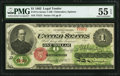 Large Size:Legal Tender Notes, Fr. 17a $1 1862 Legal Tender PMG About Uncirculated 55 EPQ...