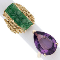 Amethyst, Jade, Gold Rings