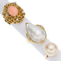 Estate Jewelry:Rings, Diamond, Cultured Pearl, Coral, Gold Rings. ... (Total: 3 Items)