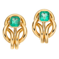 Emerald, Gold Earrings