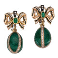 Estate Jewelry:Earrings, Diamond, Emerald, Enamel, Gold Earrings. ...