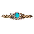 Estate Jewelry:Brooches - Pins, Diamond, Turquoise, Gold Brooch, Russian. ...