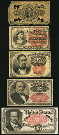 Fractional Currency:Fifth Issue, Five Fractional Notes in Reverse Friedberg Number Order Plus aMacy's Glassine Stamp Envelope.. ... (Total: 6 items)