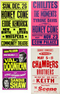 Music Memorabilia:Posters, Honey Cone / Chi-Lites / Chambers Brothers / Val Doonican ...
