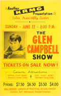 Music Memorabilia:Posters, Glen Campbell Tulsa Assembly Center Concert Poster (1960s)...