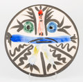 Fine Art - Work on Paper:Print, Pablo Picasso (1881-1973). Personnages No. 28, 1963. Glazedearthenware ceramic plate, painted in colors. 9-7/8 inches (...