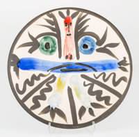 Pablo Picasso (1881-1973) Personnages No. 28, 1963 Glazed earthenware ceramic plate, painted in colo