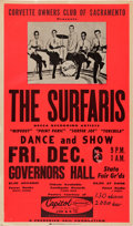 Music Memorabilia:Posters, Surfaris Governors Hall Concert Poster (A Frederick Vail Production, 1963). Extremely Rare....