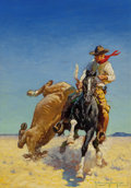 Paintings, Robert Farrington Elwell (American, 1874-1962). Was He Bad?, All Western Magazine cover, March 1933. Oil on board. 22-1/...