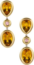 Estate Jewelry:Earrings, Citrine, Sapphire, Gold Earrings, Frank Ancona. ...