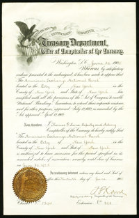 Re-Extending Charter Certificate New York, NY - The American Exchange NB Ch. # 1394