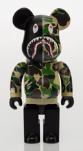 Fine Art - Sculpture, American:Contemporary (1950 to present), BAPE X BE@RBRICK. Shark Hoodie 400% (Green), 2015. Paintedcast resin. 11 x 5-1/2 x 3-3/4 inches (27.9 x 14.0 x 9.5 cm)...
