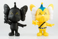 Fine Art - Sculpture, American:Contemporary (1950 to present), KAWS (American, b. 1974). JPP (Yellow and Black) (twoworks), 2008. Painted cast vinyl (each). 7-1/2 x 5 x 4 inches(19.... (Total: 2 Items)