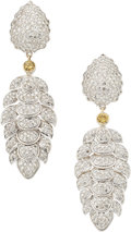 Estate Jewelry:Earrings, Colored Diamond, Diamond, Gold Earrings . ...
