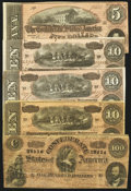 Confederate Notes:Group Lots, A Group of 1864 Confederate Treasury Notes - $5; $10(3); $100. ...(Total: 5 notes)