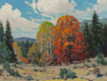 Fine Art - Painting, American, Dwight Clay Holmes (American, 1900-1986). Fall Landscape,1969. Oil on Masonite. 9 x 12 inches (22.9 x 30.5 cm). Signed ...