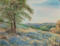 Fine Art - Painting, American, Clara Pancoast (American, 1872-1959). Bluebonnets. Oil onboard. 13-3/4 x 18 inches (34.9 x 45.7 cm). Signed on the reve...