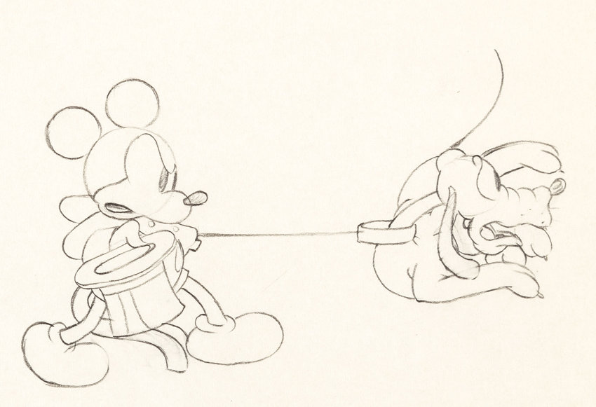 Line Drawing Mouse : Mickey's gala premier mickey mouse and pluto animation drawing lot