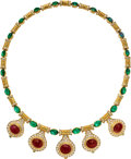 Estate Jewelry:Necklaces, Ruby, Emerald, Diamond, Gold Necklace. ...