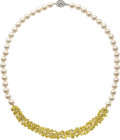 Estate Jewelry:Necklaces, Colored Diamond, Diamond, Cultured Pearl, Gold Necklace. ...
